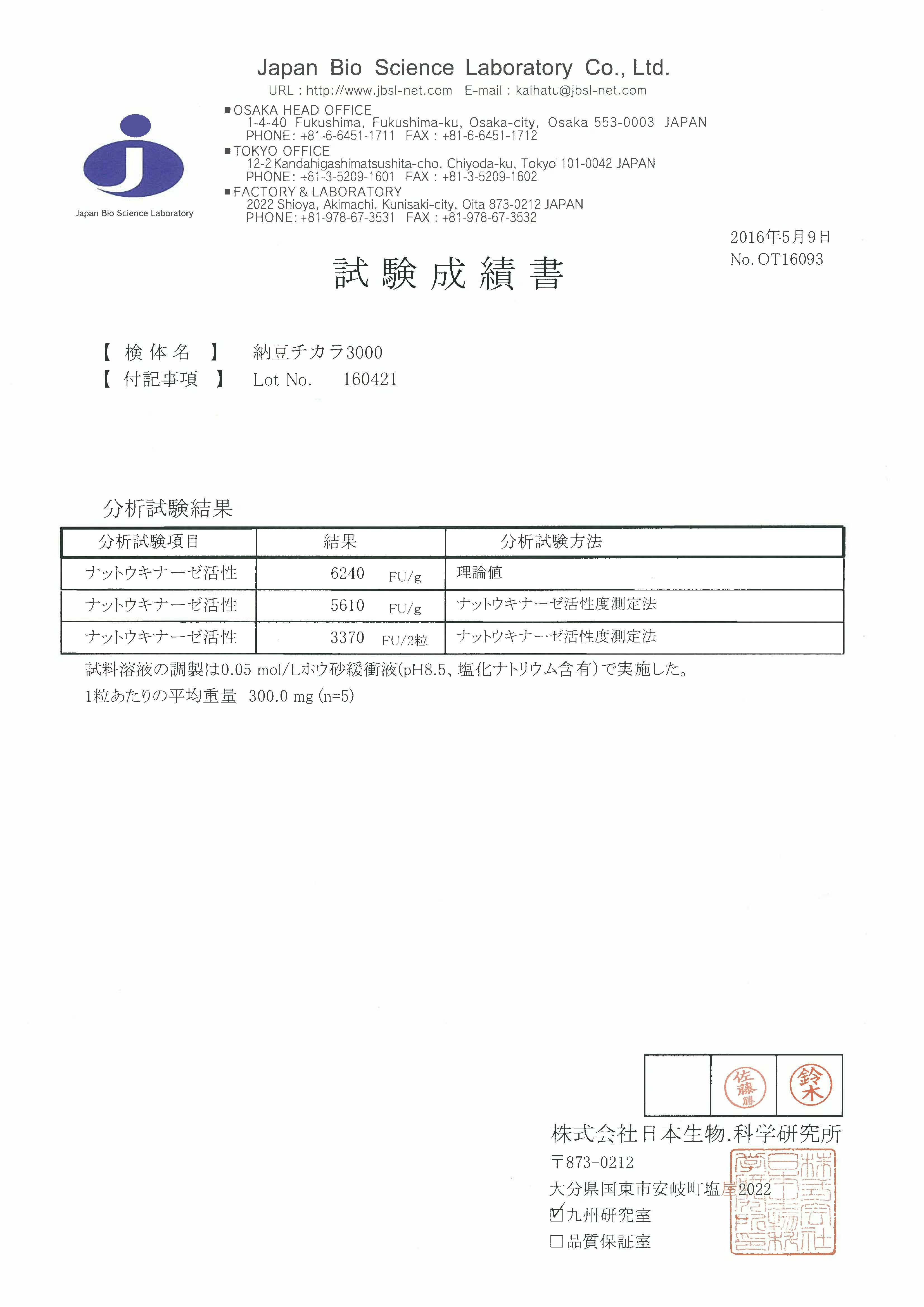 OT16093 納豆チカラ3000 (Lot 160421) 160509